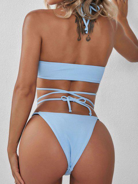 ladies ZAFUL Ribbed Wrap Around Tanga Bikini Swimwear - LIGHT BLUE M Mobile