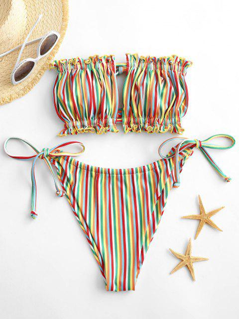 women ZAFUL Tie Side Rainbow Stripes Bandeau Bikini Swimwear - YELLOW L Mobile