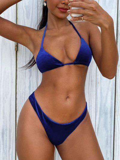 Plunge Velvet High Cut Bathing Suit - Blue S