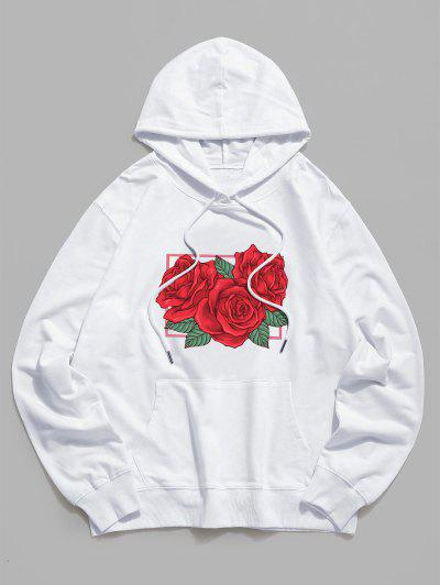 Rose Floral Graphic Drawstring Pouch Pocket Hoodie - White S