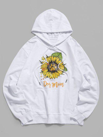 Daisy Paw Graphic Casual Pouch Pocket Hoodie - White Xs