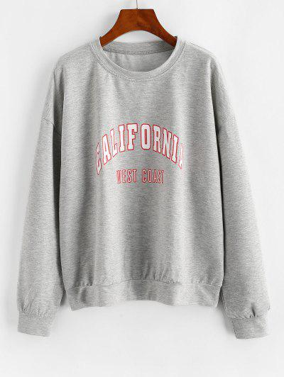 Letter Graphic Drop Shoulder French Terry Sweatshirt - Gray S
