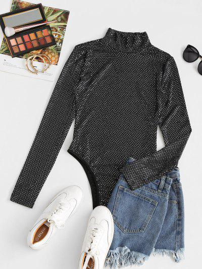 High Neck Sequined Party Bodysuit - Black M