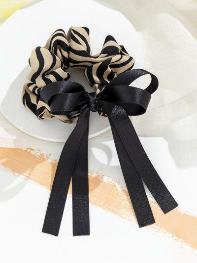 Stripes Print Bowknot Ribbon Scrunchy - Deep Peach