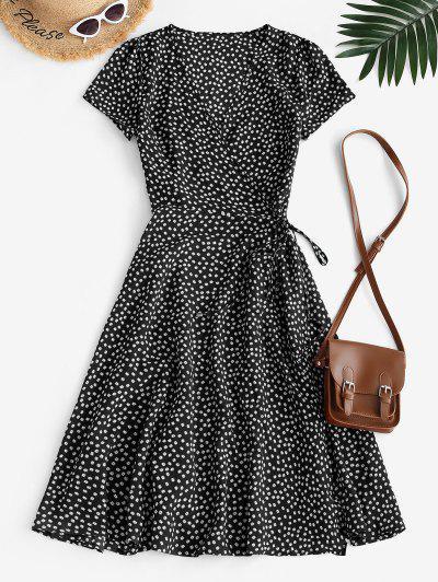 Floral Midi Wrap Dress - Black M