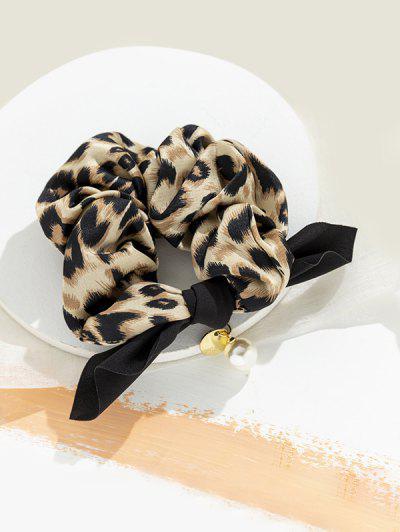 Leopard Faux Pearl Bowknot Scrunchy - Light Brown