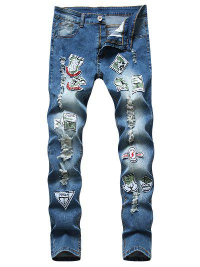 Distressed Ripped Patchwork Long Jeans - Blue 36