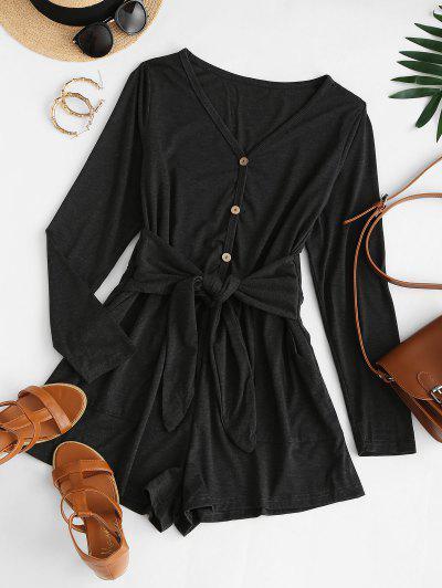 Tie Waist Pocket Long Sleeve Tee Romper - Black S