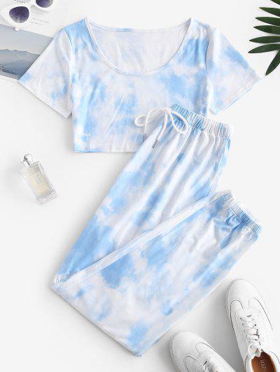 Tie Dye T-shirt And Drawstring Jogger Pants Set - Light Blue L