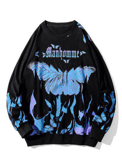 Letter Butterfly Paint Drop Shoulder Sweatshirt - Black M