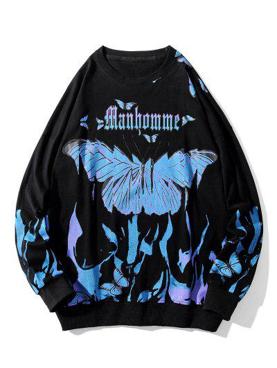 Letter Butterfly Paint Drop Shoulder Sweatshirt - Black L