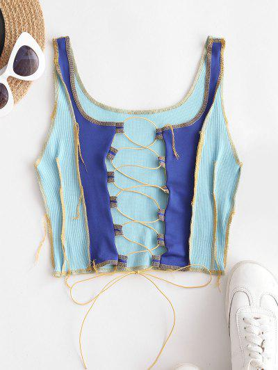 Colorblock Topstitching Lace-up Reverse Tank Top - Blue L