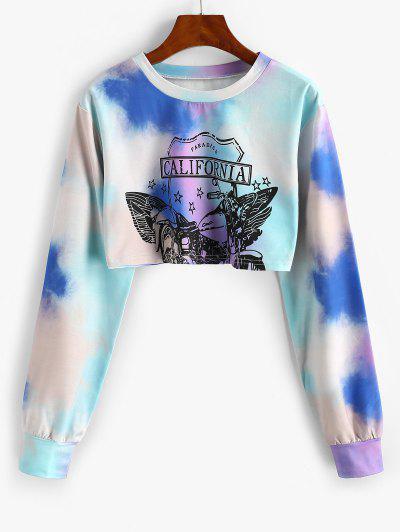 Star CALIFORNIA Tie Dye Cropped Sweatshirt - Light Blue M