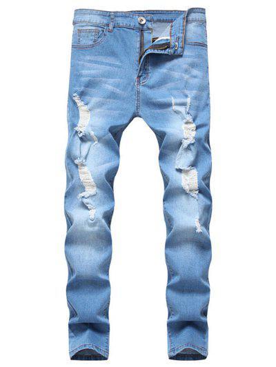 Long Distressed Ripped Denim Pants - Light Blue M
