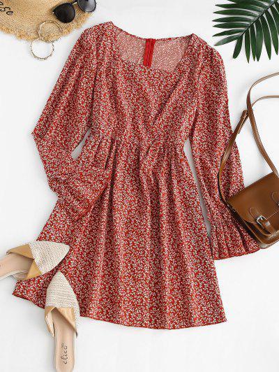 Ditsy Print Ruffle Cuff Square Neck Dress - Red M