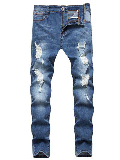 Pantalones Vaqueros Desgastados Cremallera - Azul 2xl