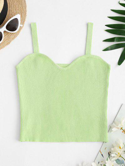 Solid Cropped Ribbed Knit Tank Top - Mint Green M