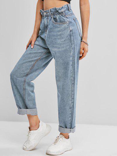 Pockets Bleach Wash Paperbag Jeans - Light Blue M