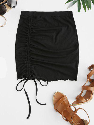 ZAFUL Ribbed Cinched Tie Lettuce Skirt - Black S