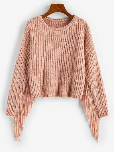 Fringed Chenille Drop Shoulder Sweater - Light Pink