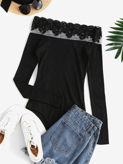 Ribbed Embroidered Mesh Panel Off Shoulder Bodysuit - Black S