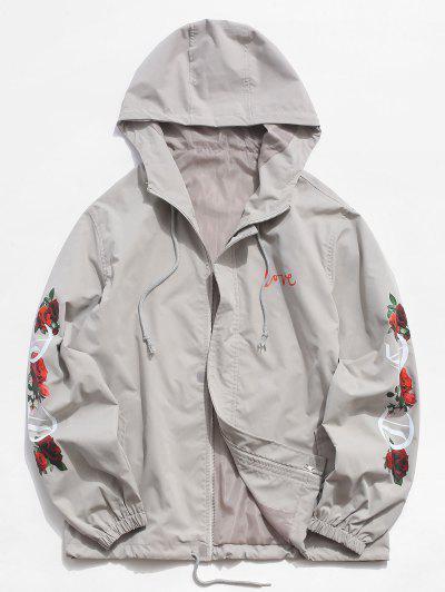 Hooded Flower Letter Print Zip Up Jacket - Light Gray 2xl