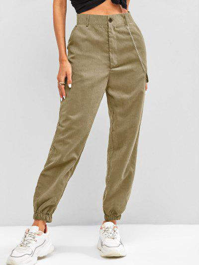 High Waisted Flap Detail Chain Pants - Light Coffee S