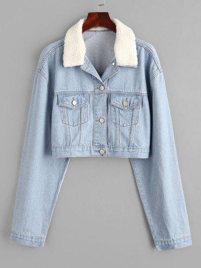 Drop Shoulder Teddy Faux Shearling Collar Denim Jacket - Light Blue M