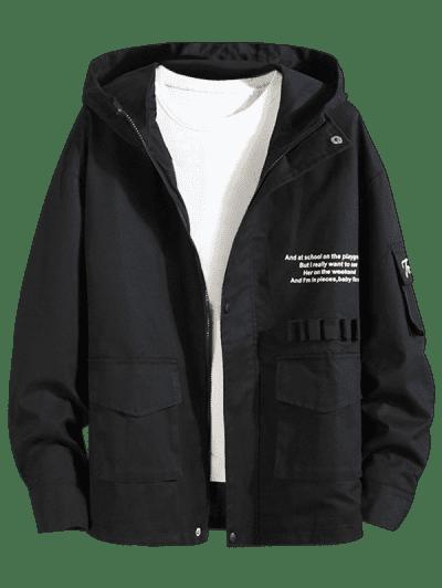 Letter Text Zip Up Drawstring Hem Hooded Jacket