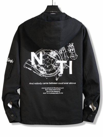 Letter Text Zip Up Drawstring Hem Hooded Jacket - Black 4xl