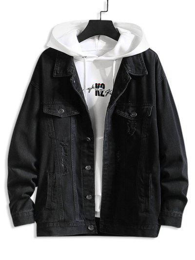 Distressed Ripped Letter Jean Jacket - Black M