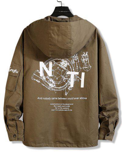 Letter Text Zip Up Drawstring Hem Hooded Jacket - Oak Brown L
