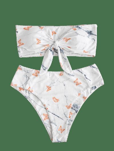 ZAFUL Ribbed Flower Marble Multi-way Bikini Swimwear