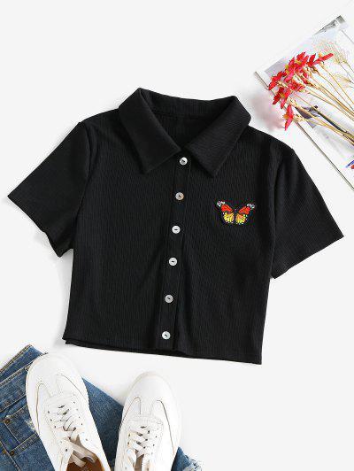 ZAFUL Gerippter Schmetterling Applique Crop Strickjacke - Schwarz Xl