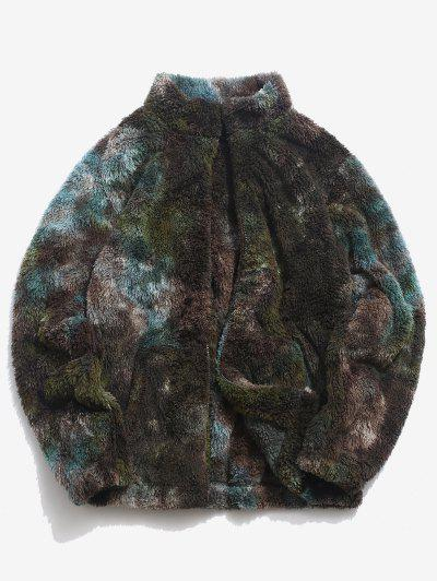 Tie Dye Pattern Zip Up Fluffy Faux Fur Jacket - Deep Green L