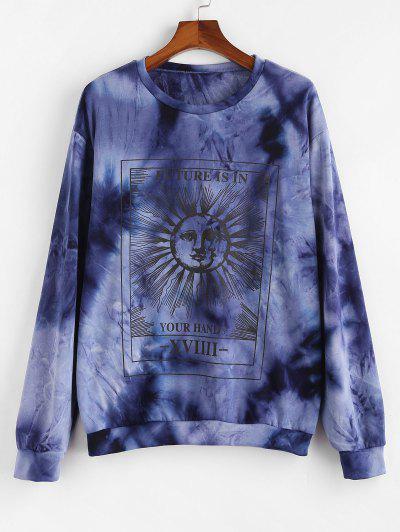 Celestial Sun And Moon Slogan Tie Dye Sweatshirt - Blue 2xl