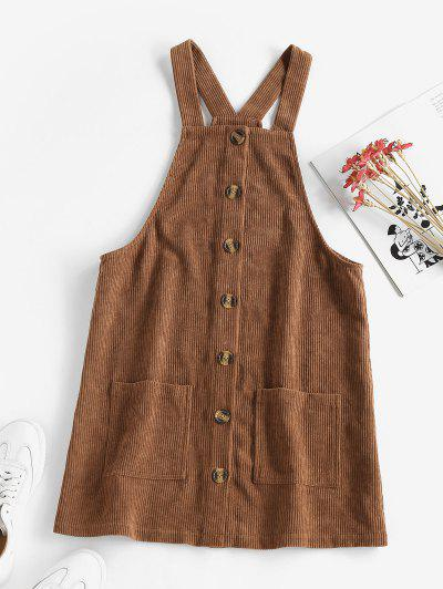 ZAFUL Corduroy Dual Pocket Buttoned Pinafore Dress - Brown M
