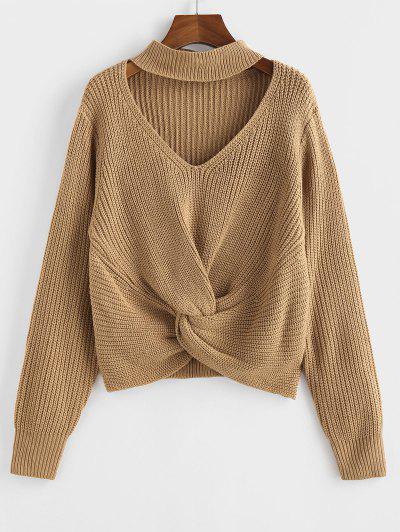 ZAFUL Twisted Choker Plain Jumper Sweater - Coffee L