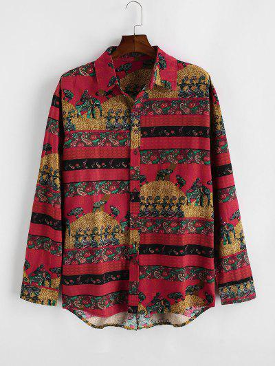 Bohemian Paisley Floral Print Long Sleeve Shirt - Lava Red M