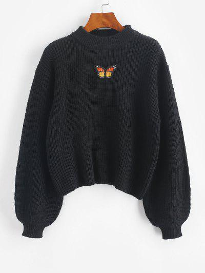 Mock Neck Lantern Sleeve Butterfly Patched Sweater - Black