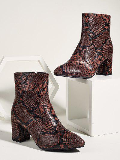 Snake Print Pointed Toe Chunky Heel Ankle Boots - Multi-a Eu 38