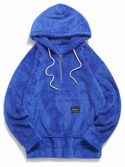 Applique Solid Color Faux Fur Half Zipper Drawstring Hoodie - Blue L
