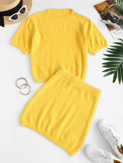 Fuzzy Knit Fitted Two Piece Dress - Yellow L