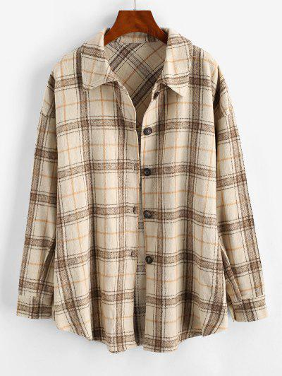 Checked Wool Blend Coat - Light Coffee M