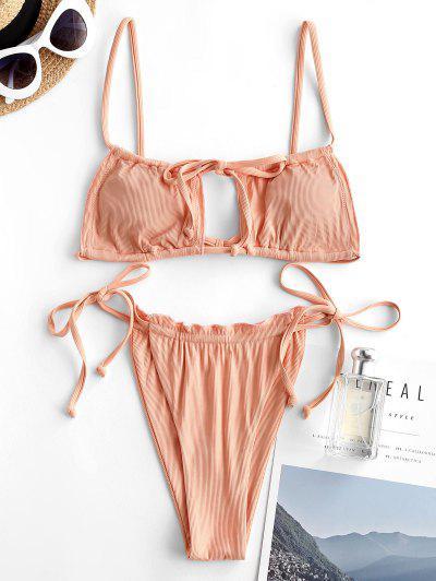ZAFUL Ribbed Frilled Cutout Drawstring String Bikini Swimwear - Light Orange L