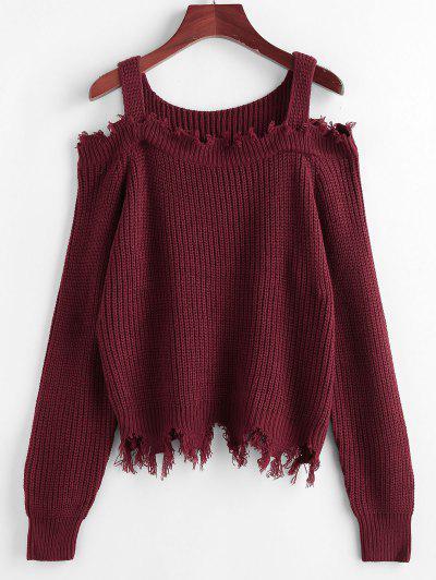 ZAFUL Frayed Cold Shoulder Jumper Sweater - Deep Red L