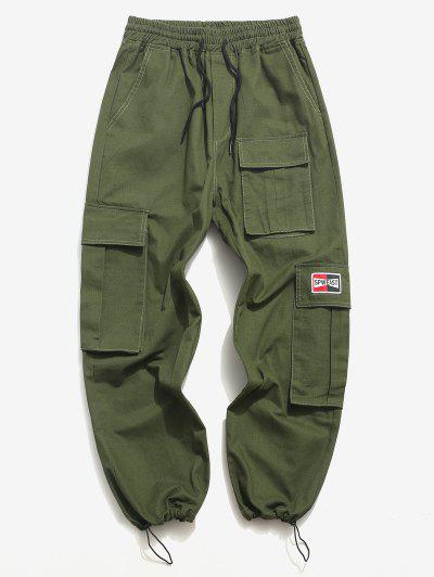 Letter Applique Toggle Drawstring Casual Cargo Pants - Green Xl