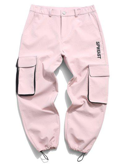 Letters Embroidered Toggle Drawstring Cargo Pants - Pink Xl