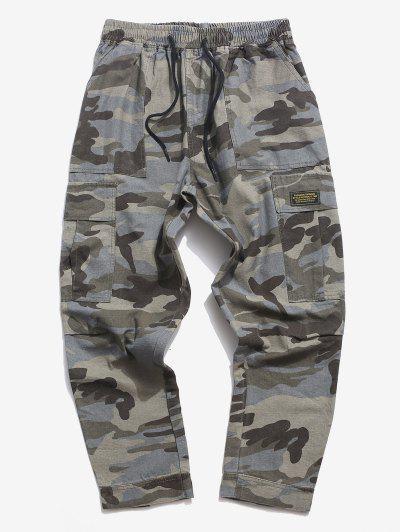 Letter Applique Hoop And Loop Detail Cargo Pants - Acu Camouflage M