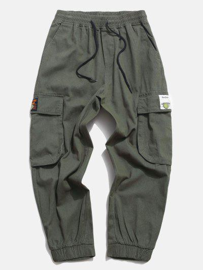 Flap Pocket Applique Solid Cargo Pants - Army Green L